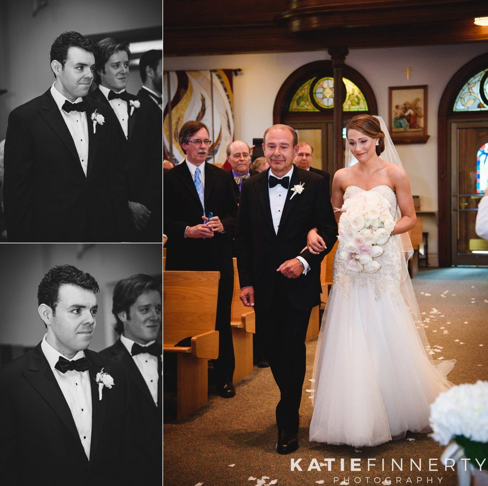 Groom's face as he sees bride walking down the aisle for the first time on their wedding day.  Photos by Rochester wedding photographer Katie Finnerty. http://www.katiefinnertyphotography.com/blog/2015.9.17.inn-on-broadway-rochester-wedding-clare-drew