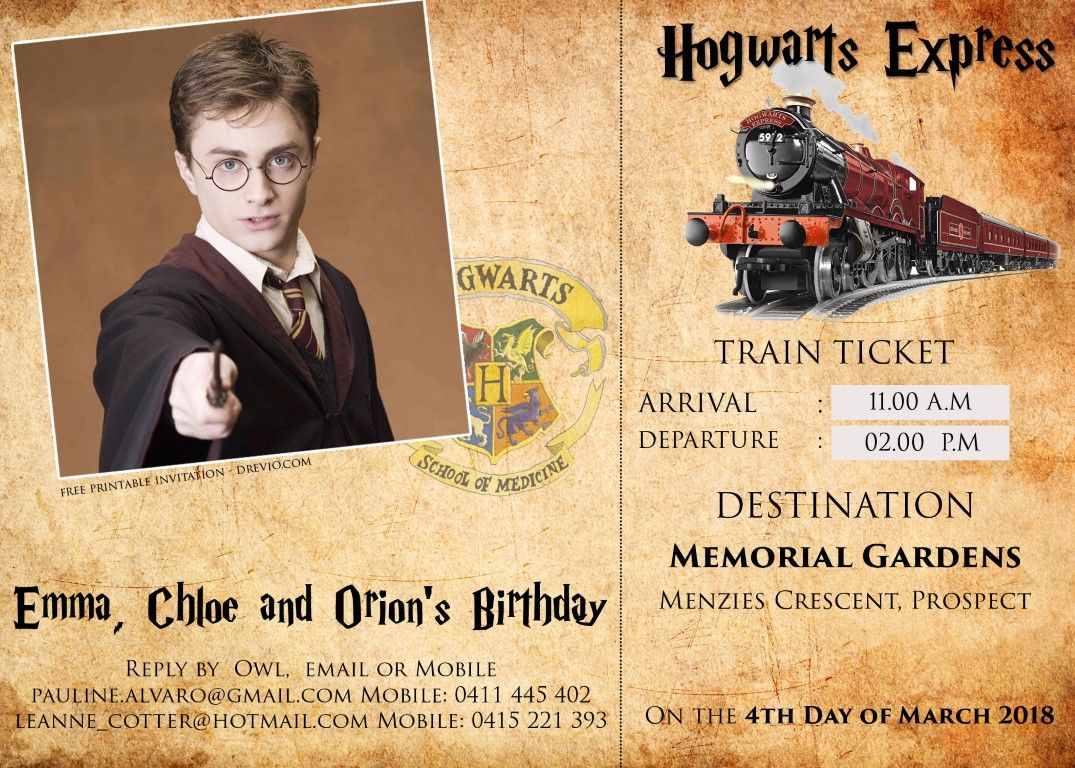 FREE Harry Potter Hogwarts Express Ticket Invitation PSD