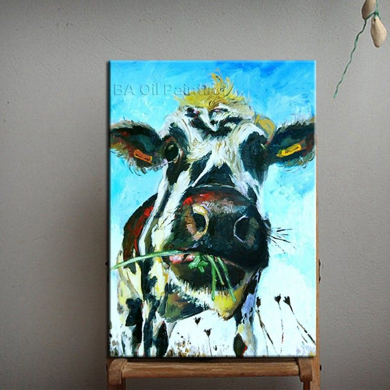 Artist Handpainted Abstract Animal Cow Oil Painting On Canvas For Living Room Wall Art Deocr Handmade Abstract Cow Eat Funny Paintings Animal Wall Art Painting