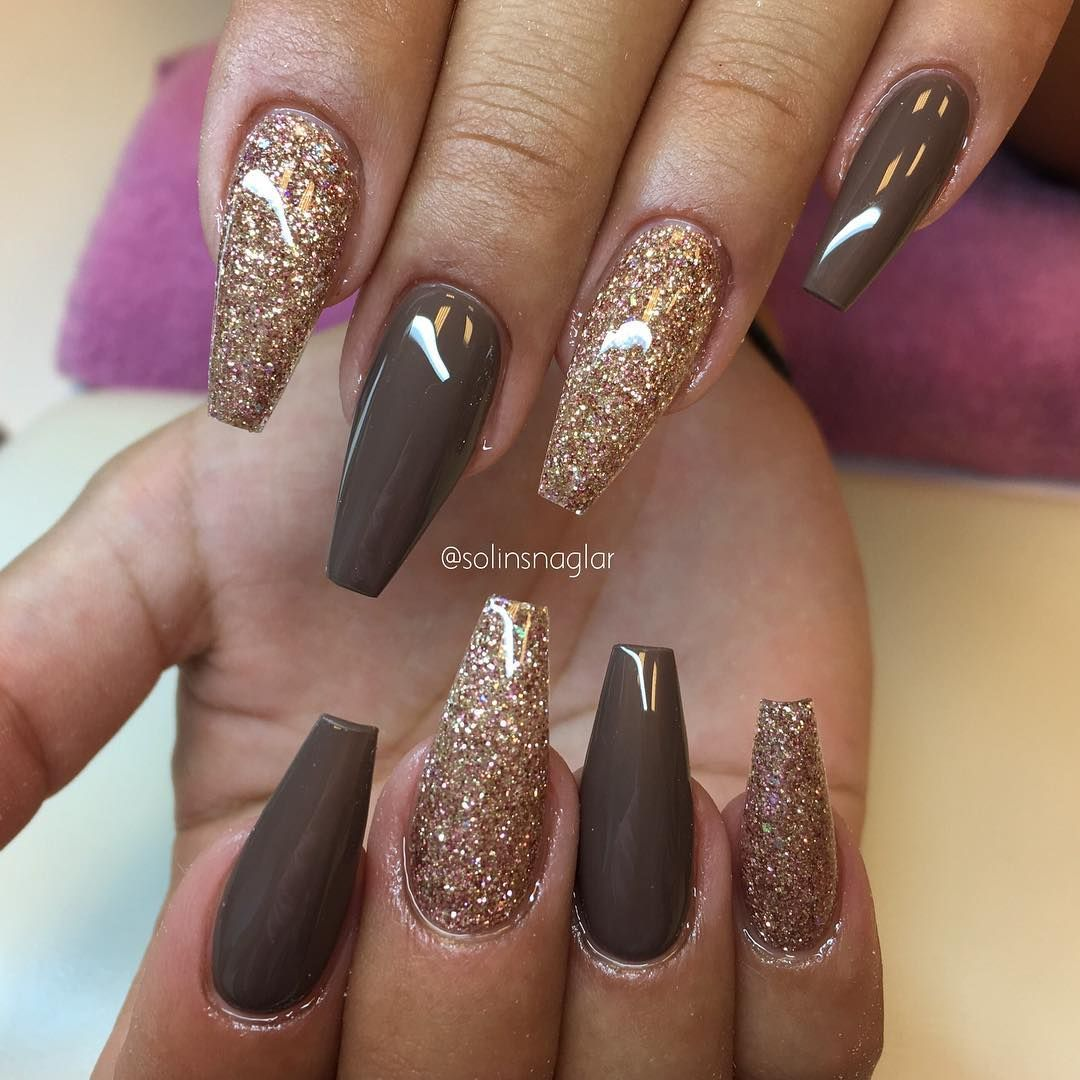 Gold Glitter Fall Colors Brown Nail Polish Glam Manicure Coffin