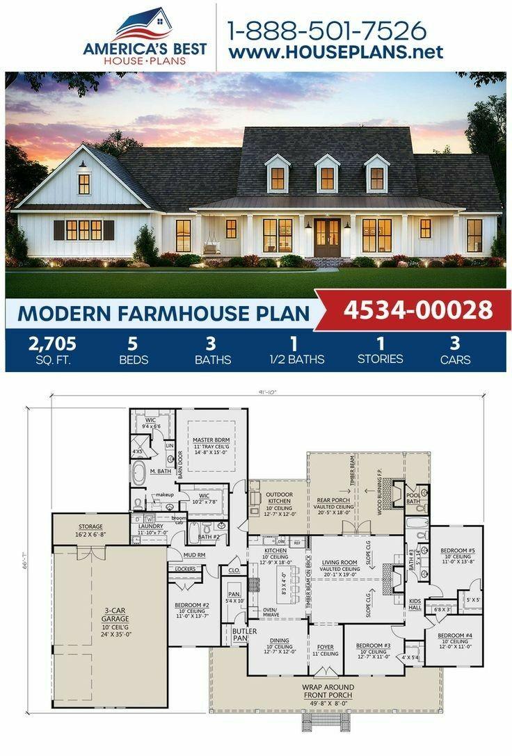 2705sf Another Favorite Modern Farmhouse Plans Farmhouse Plans House Blueprints