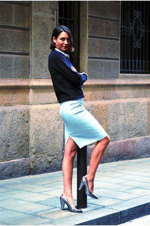light blue pencil skirt Zara skirt - black neoprene H&M sweater ...