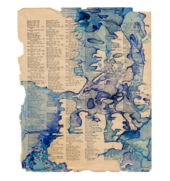 Watercolor Art Print Blue Abstract Map Art On Book Page