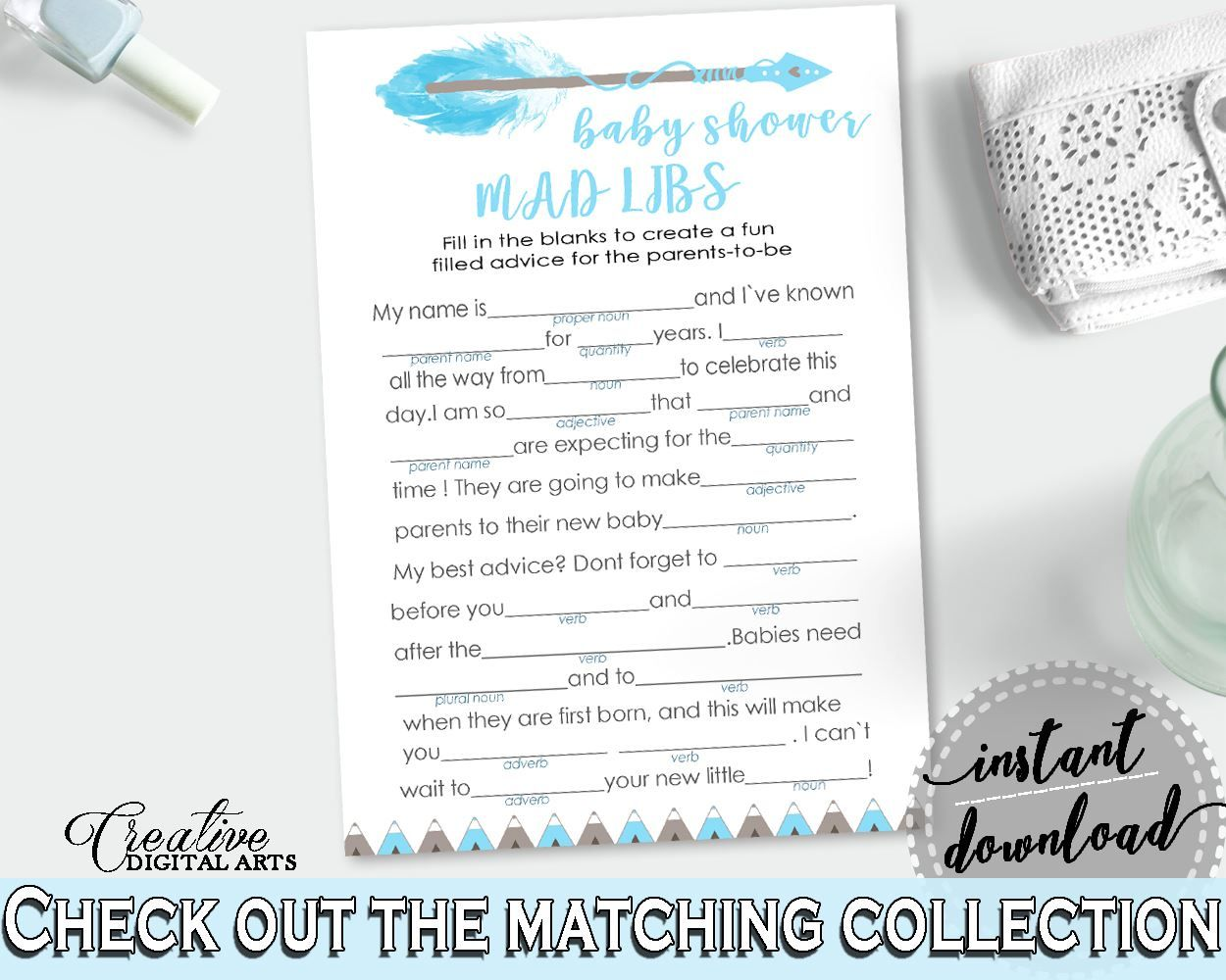 Mad Libs Baby Shower Mad Libs Aztec Baby Shower Mad Libs