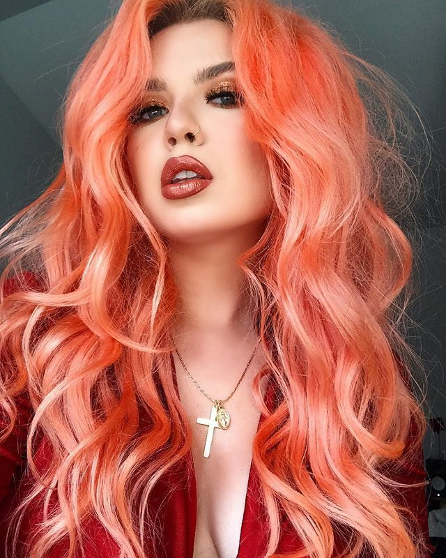 Neon Peach Hair Color Clean Vibrant Peach With Images Peach