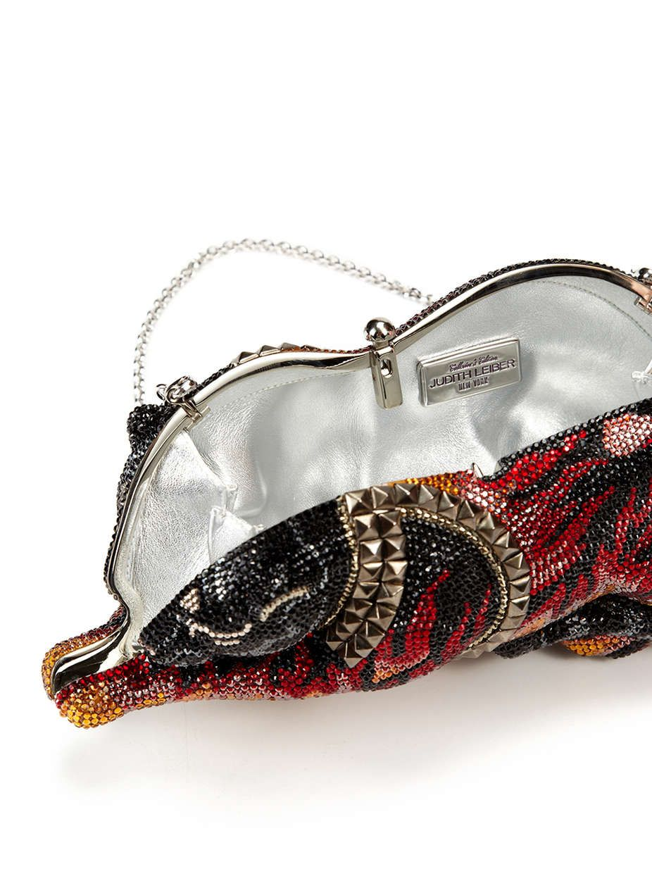 7856f01475 Judith Leiber Wild Cat Minaudière Cat shaped small clutch Fully beaded  crystal body Optional chain-link strap Top push-lock closure Metallic  leather ...