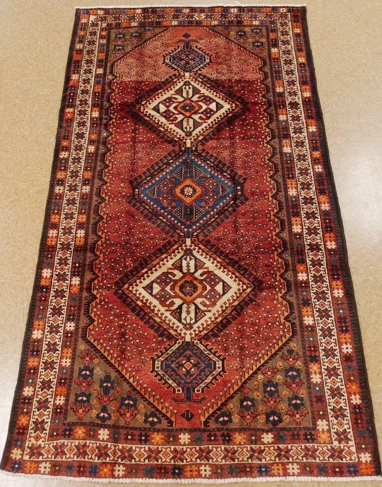 Persian Hamedan Hand Knotted Wool Rust Ivory Blue Tribal Oriental Rug 5 X 10 Persianhamedantribalgeometric Oriental Rug Hamedan Rug Oriental Carpets