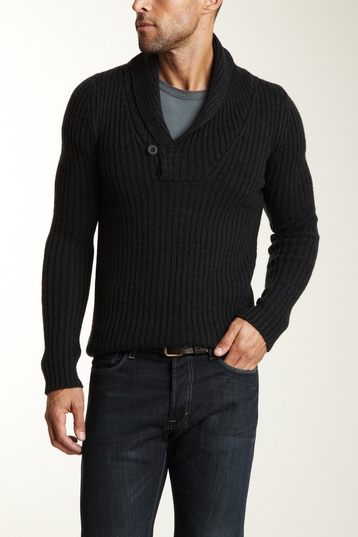 Dex V-Neck Sweater with One Button Closure