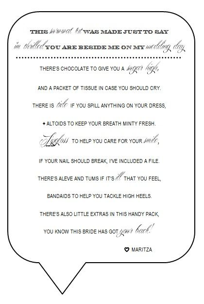 Bridesmaid Survival Kit poem/ card : wedding black bridesmaid ...