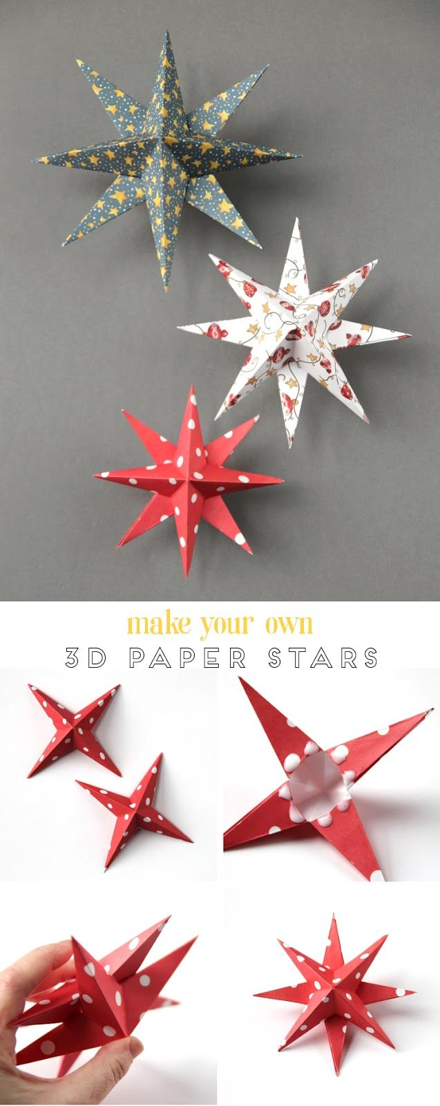 Diy 3d Paper Star Christmas Decorations With Images Paper Decorations Diy Diy Christmas Star Diy Christmas Paper