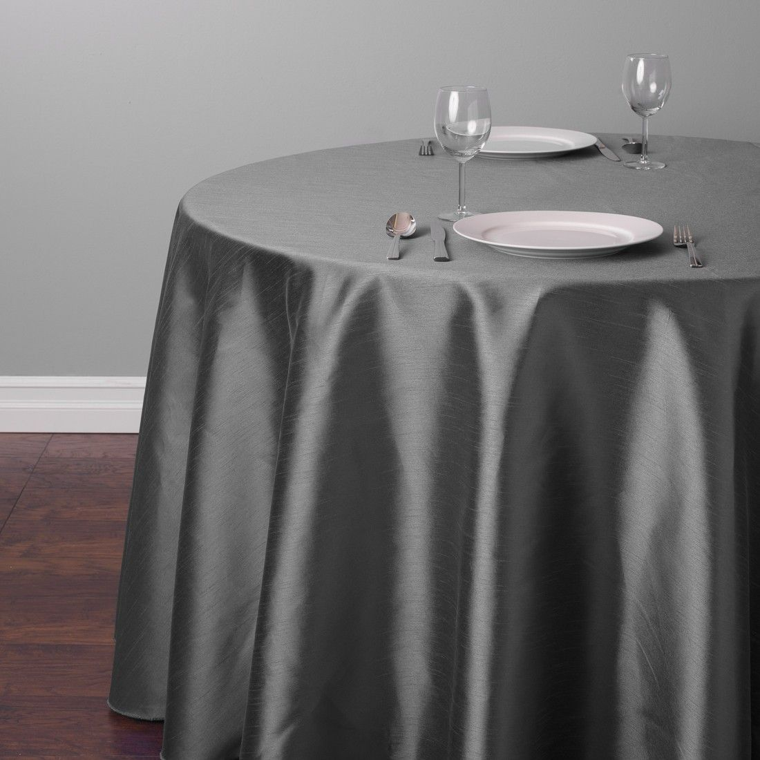 Round Shantung Silk Tablecloth Charcoal For Weddings | LinenTablecloth