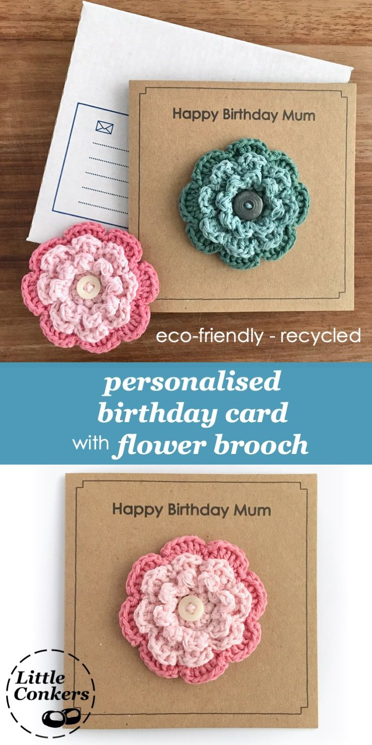 Personalised Birthday Card with Flower Brooch