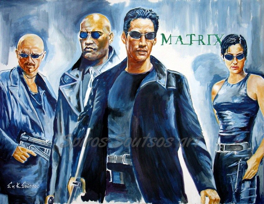 Movie Posters 1999: The Matrix 1999 Movie Poster Original Painting Artwork By
