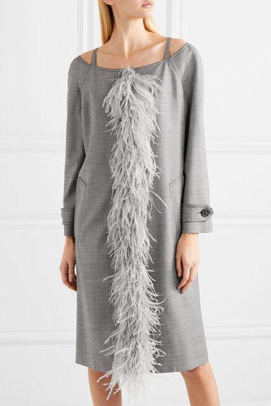 af6918b304c30 Prada Cold-shoulder Feather-trimmed Wool-blend Coat - Gray ...