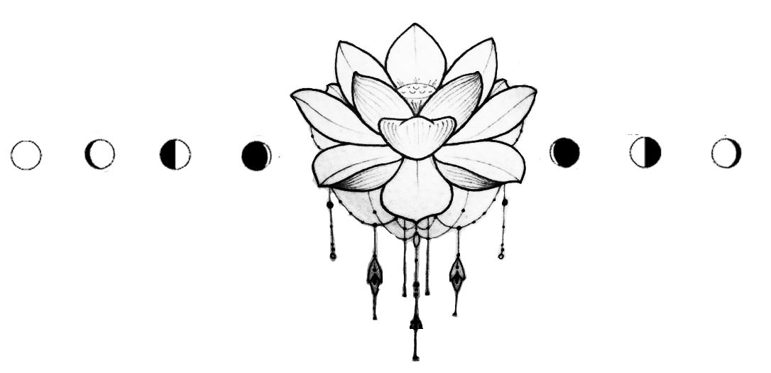 Lotus Flower Tattoo With Moon Phases Flower Tattoo Hand Moon Tattoo Flower Thigh Tattoos