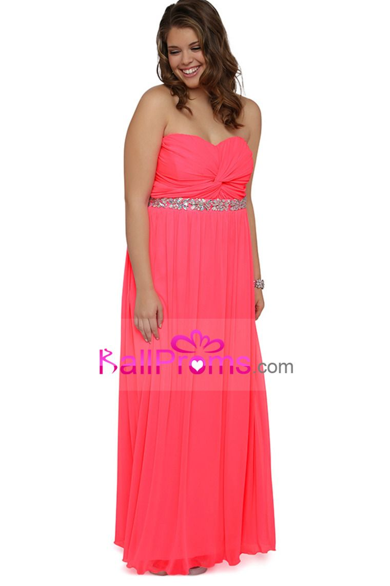 Plus size strapless baby doll long prom dress with stone empire