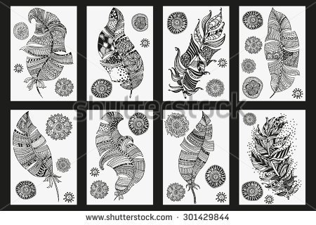 Vintage Tribal Artistically Drawn Zentangle Stylized Feather Sketch By Trace Pattern For Coloring Book