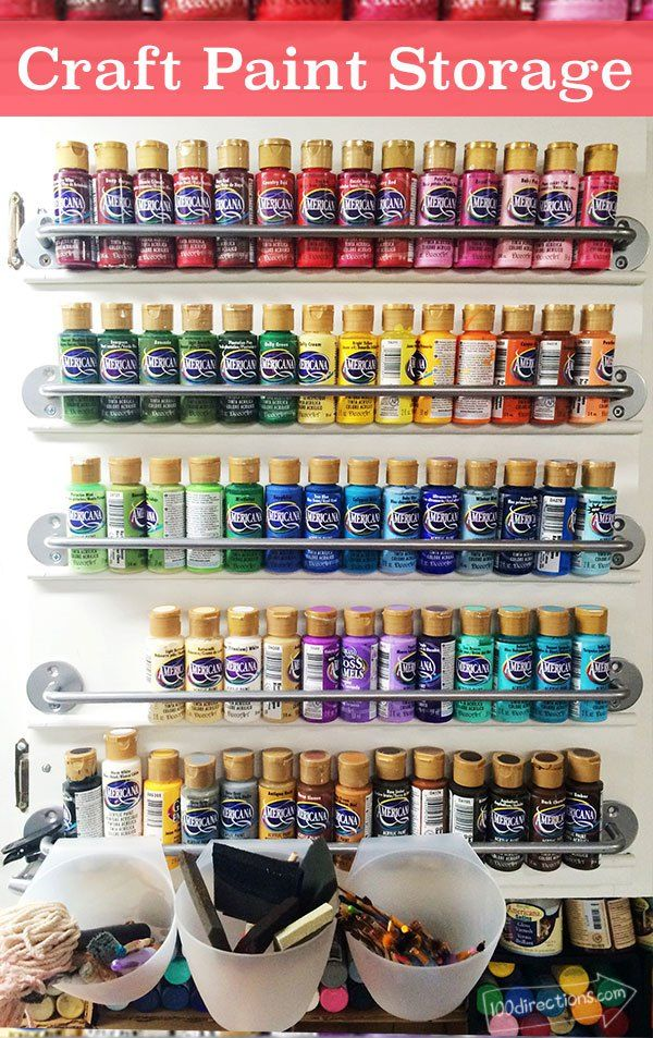 Craft Storage with Towel bars designed by Jen Goode & Organize craft paint on a cabinet door | Craft storage Towels and ...