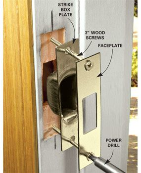 Prevent Break Ins By Upgrading And Strengthening Your Deadbolt And Lockset.  Learn How To Install A Grade 1 Deadbolt, How To Install A Four Screw Strike  ...