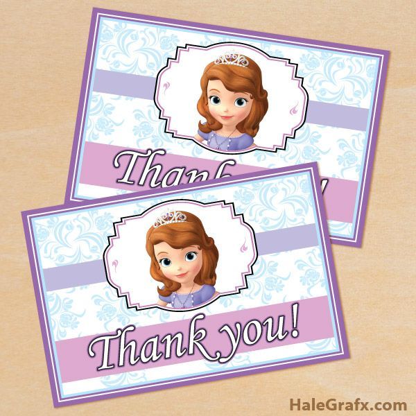 Free Printable Sofia The First Thank You Card Little Ones Parties