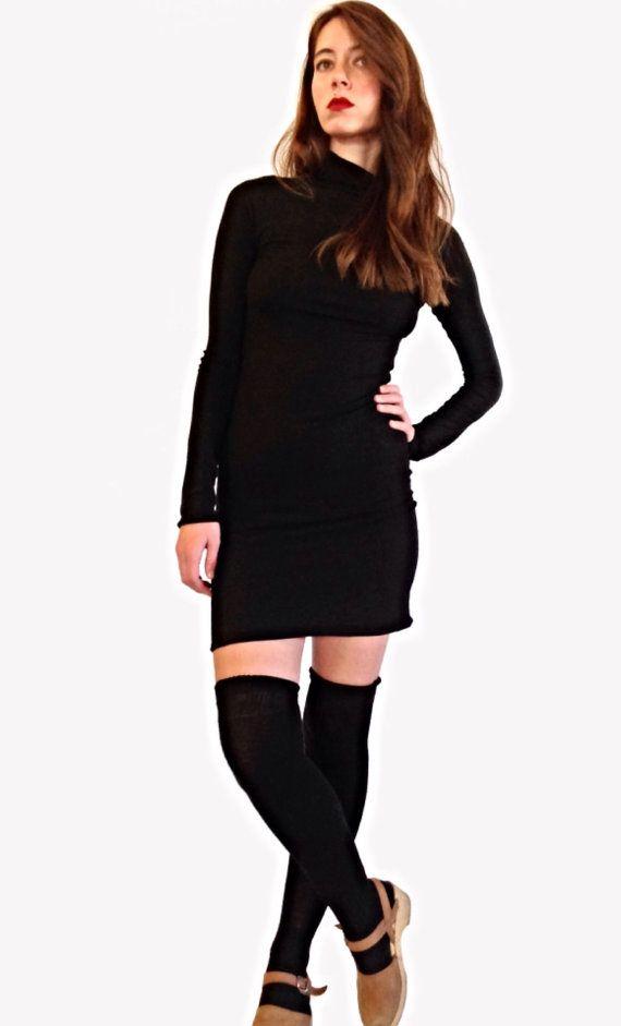 Long Sleeve Black Jersey Turtle Neck Dress by HomeCookedKarma