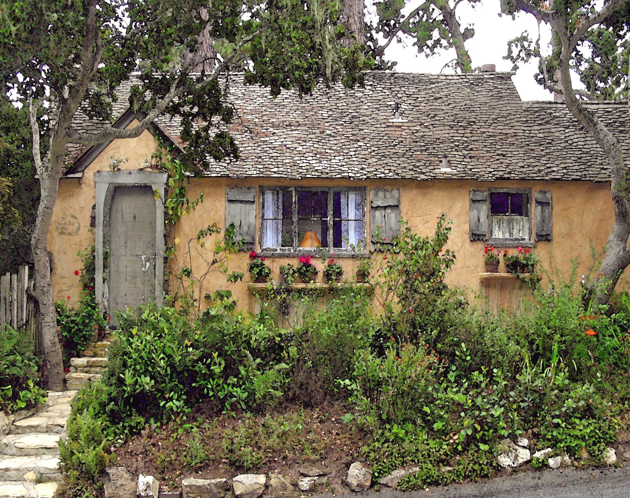SUNWISE TURN A HUGH STOCK FAIRYTALE COTTAGE IN CARMEL BY THE