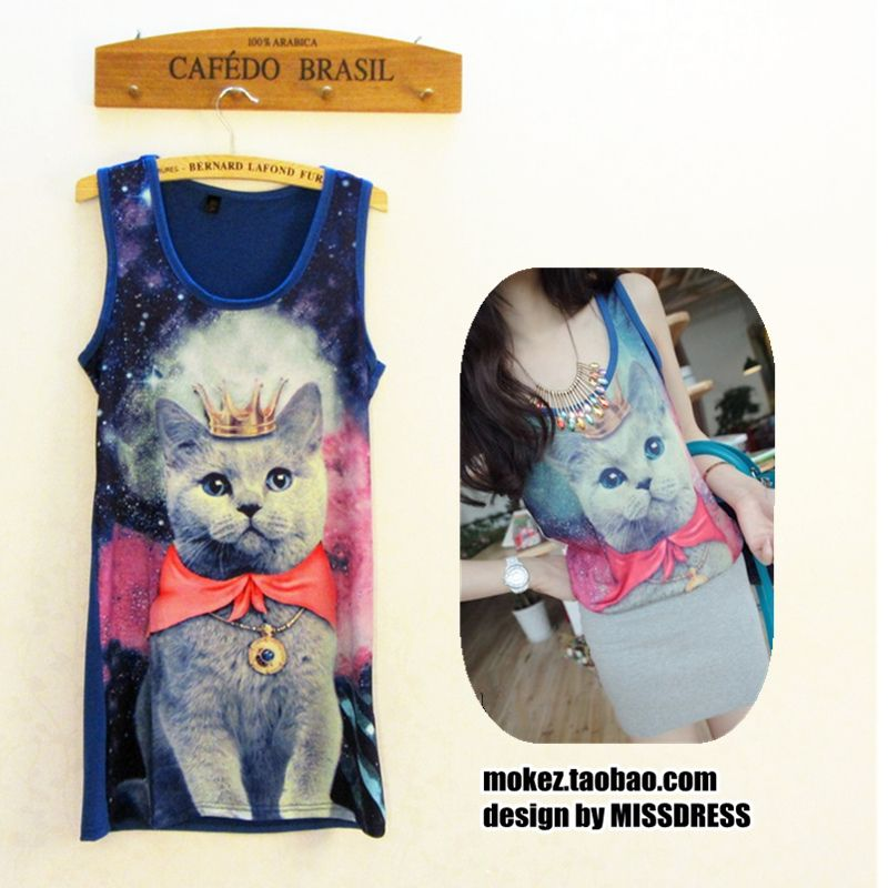 2013 South Korea exported to Japan Harajuku style crown kitty cat vest OP stereoscopic sundress Star models blouses - Taobao