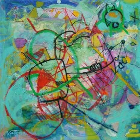 Obra vanguardista pintada sobre colores azul turquesa - Pintura azul turquesa ...