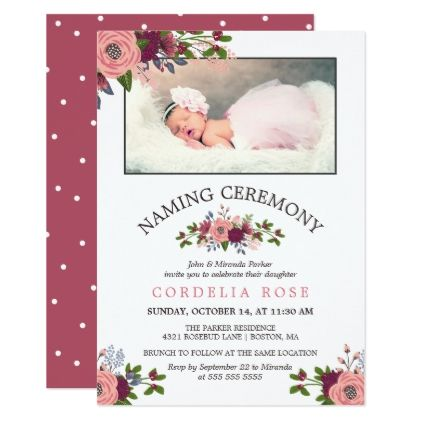 Blush Burgundy Flowers Naming Ceremony Invitation Zazzle Com In 2020 Naming Ceremony Invitation Naming Ceremony Decoration Photo Invitations