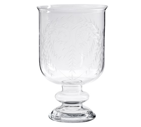Footed Etched Glass Vase Pottery Barn Glass Vase