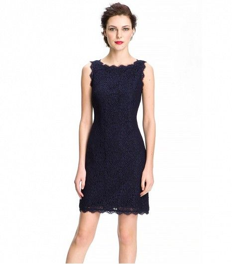 @Who What Wear - Adrianna Papell Boatneck Lace Sheath Dress ($148)  This lace frock's conservative neckline allows for a shorter hemline. Read: Legs for days.
