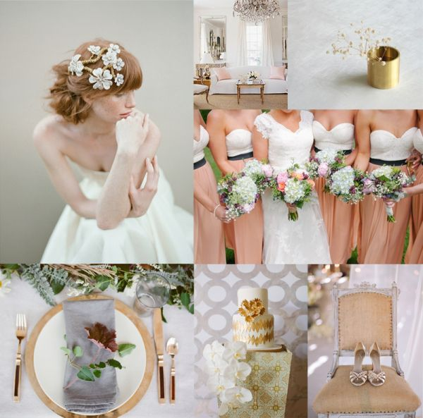Chic Gray, Gold & Pale Salmon | Blush weddings, Weddings and Wedding