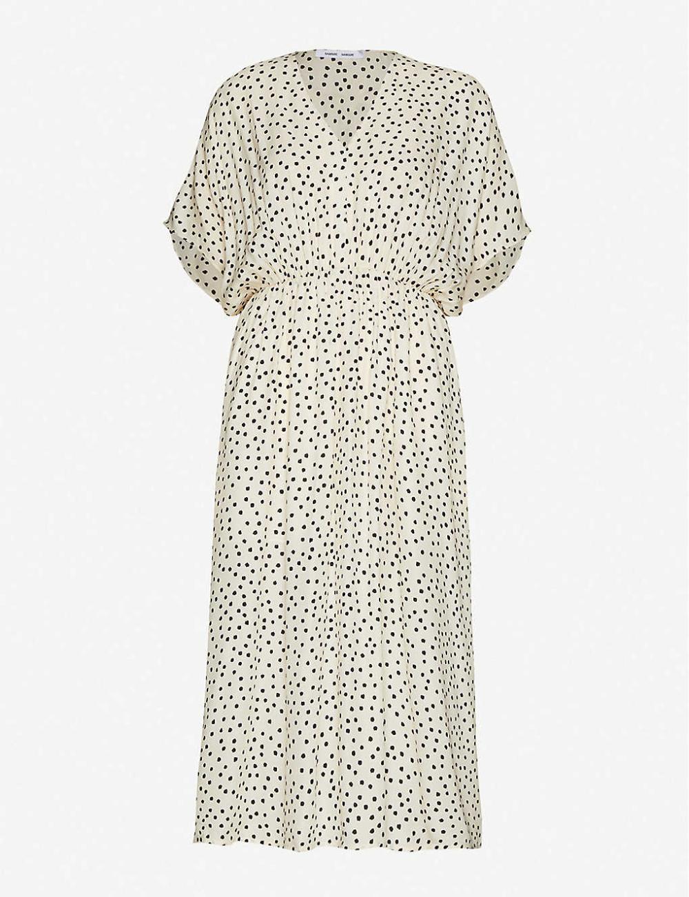 SAMSOE & SAMSOE - Andina polka-dot woven midi dress | Selfridges.com