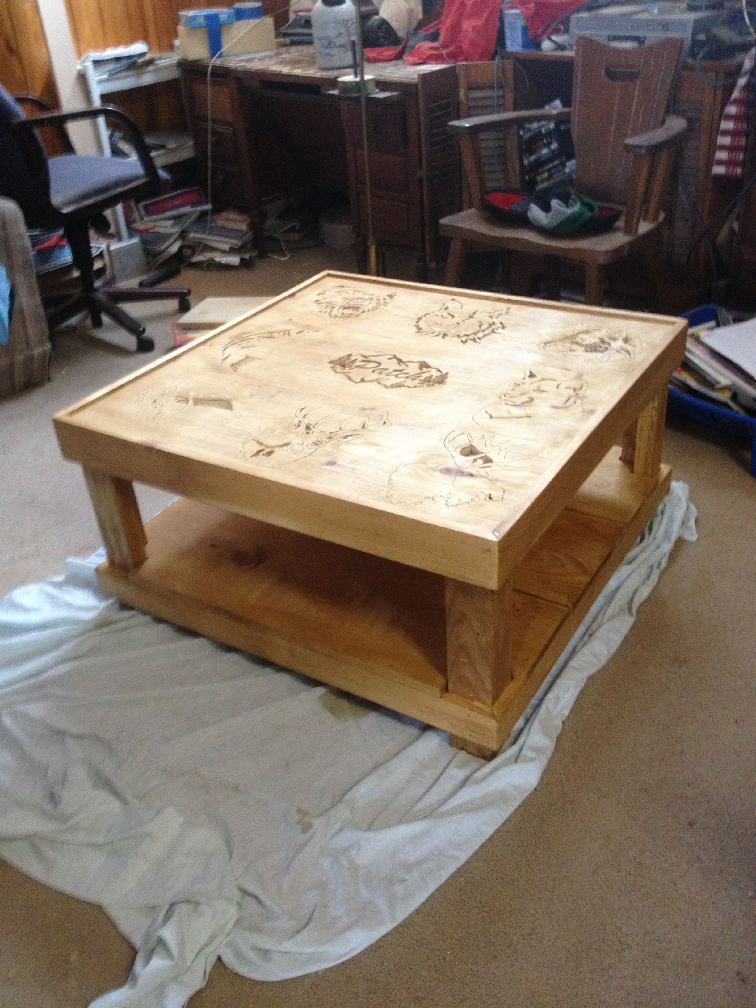 Scroll saw art furniture coffee table