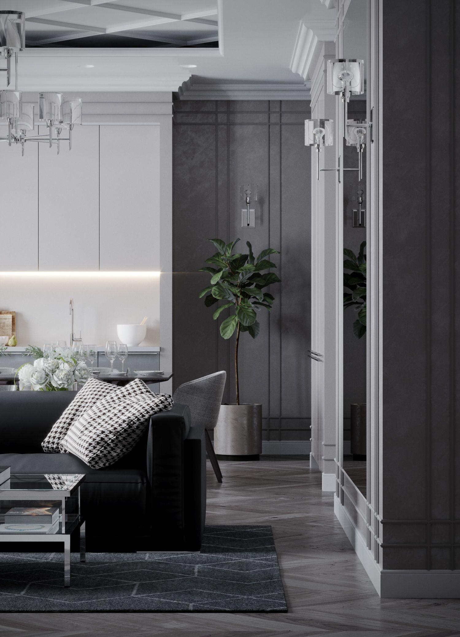 Classic american home interior living room kitchen design interior vizualization гостиная