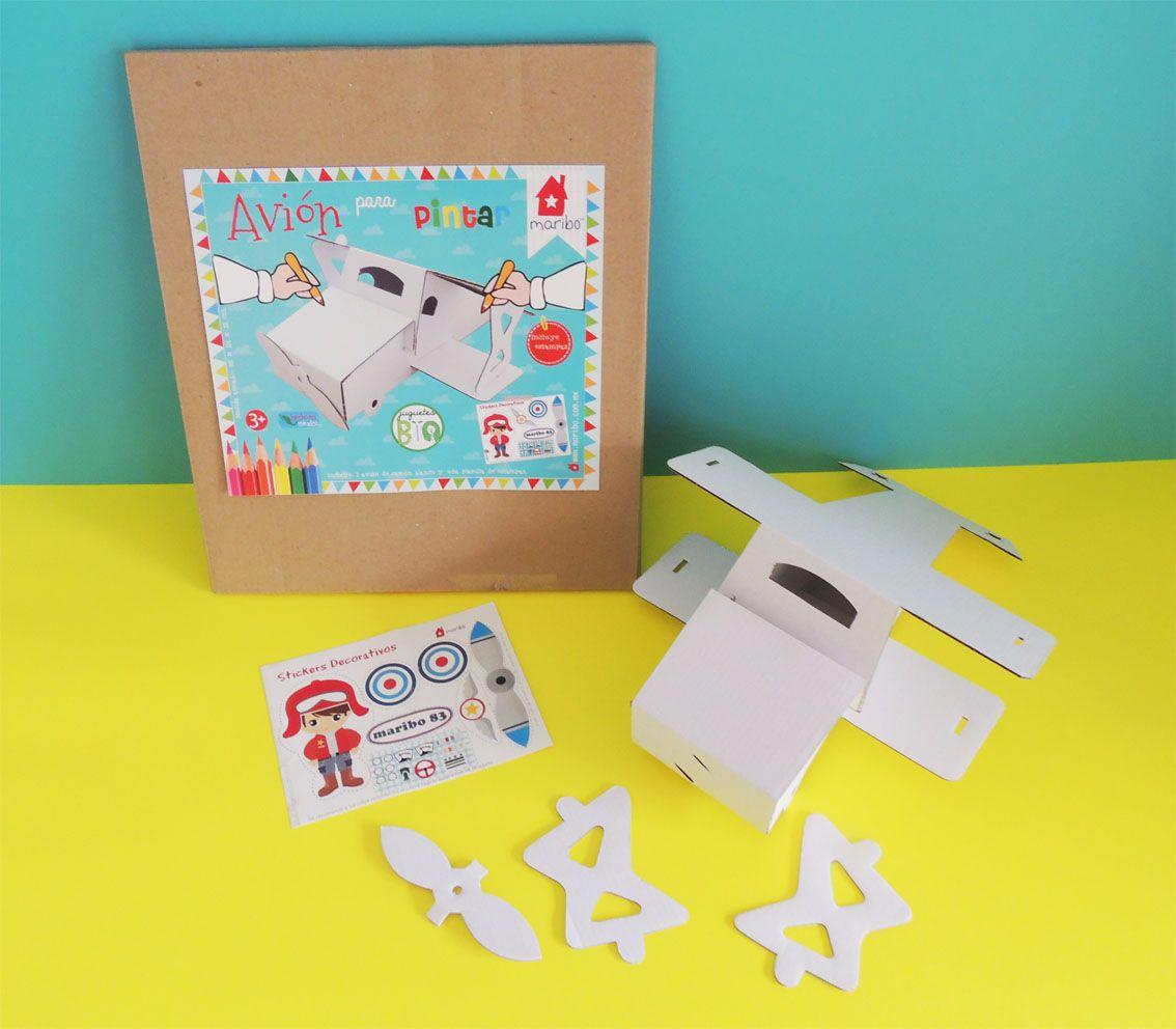 Avión de cartón color blanco para pintar y decorar, incluye planilla ...