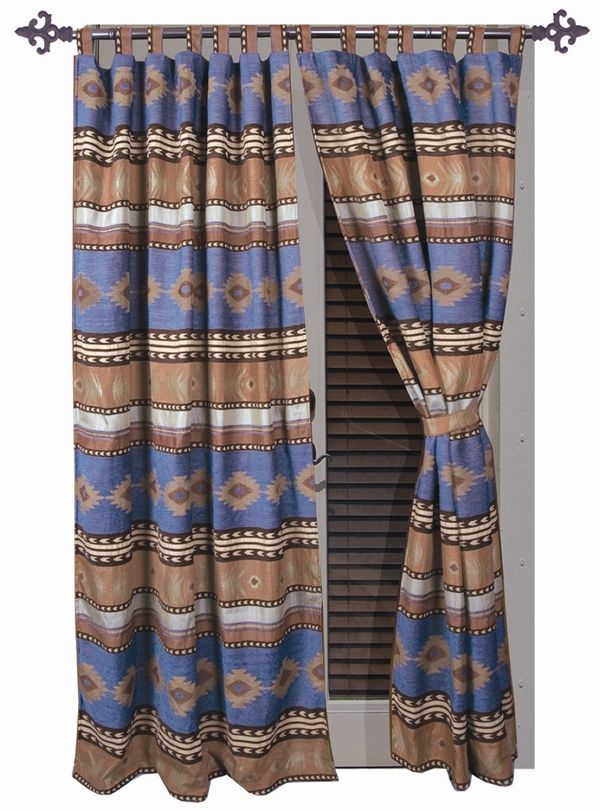 Sierra Blue Curtain And Valances Lodge Western Southwest And Southwestern Comforter Sets Paulshomefashions C Blue Curtains Drapes Curtains Panel Curtains