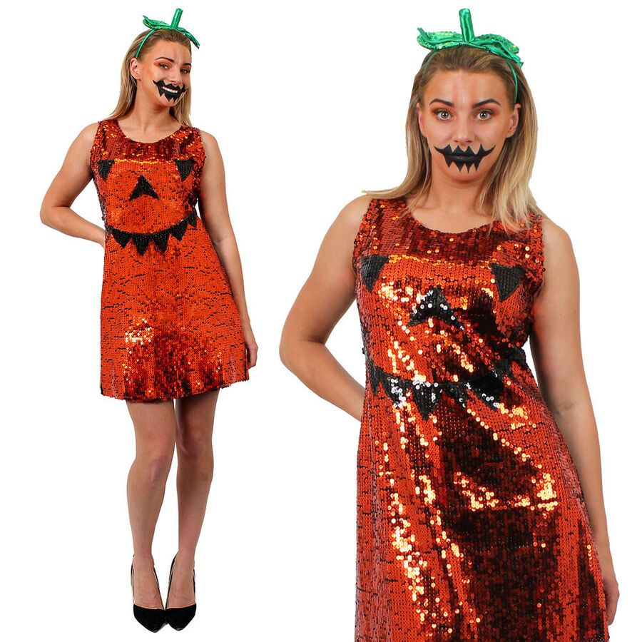 Details about ADULTS PUMPKIN DRESS COSTUME WITH HEADBAND