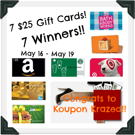 Holy hugeness of a giveaway! 7 Winners are going to win 7 $25 Gift Cards to awesome places! Ends 5/19 http://chant3llo.com/7-gift-cards-7-winners-giveaway/