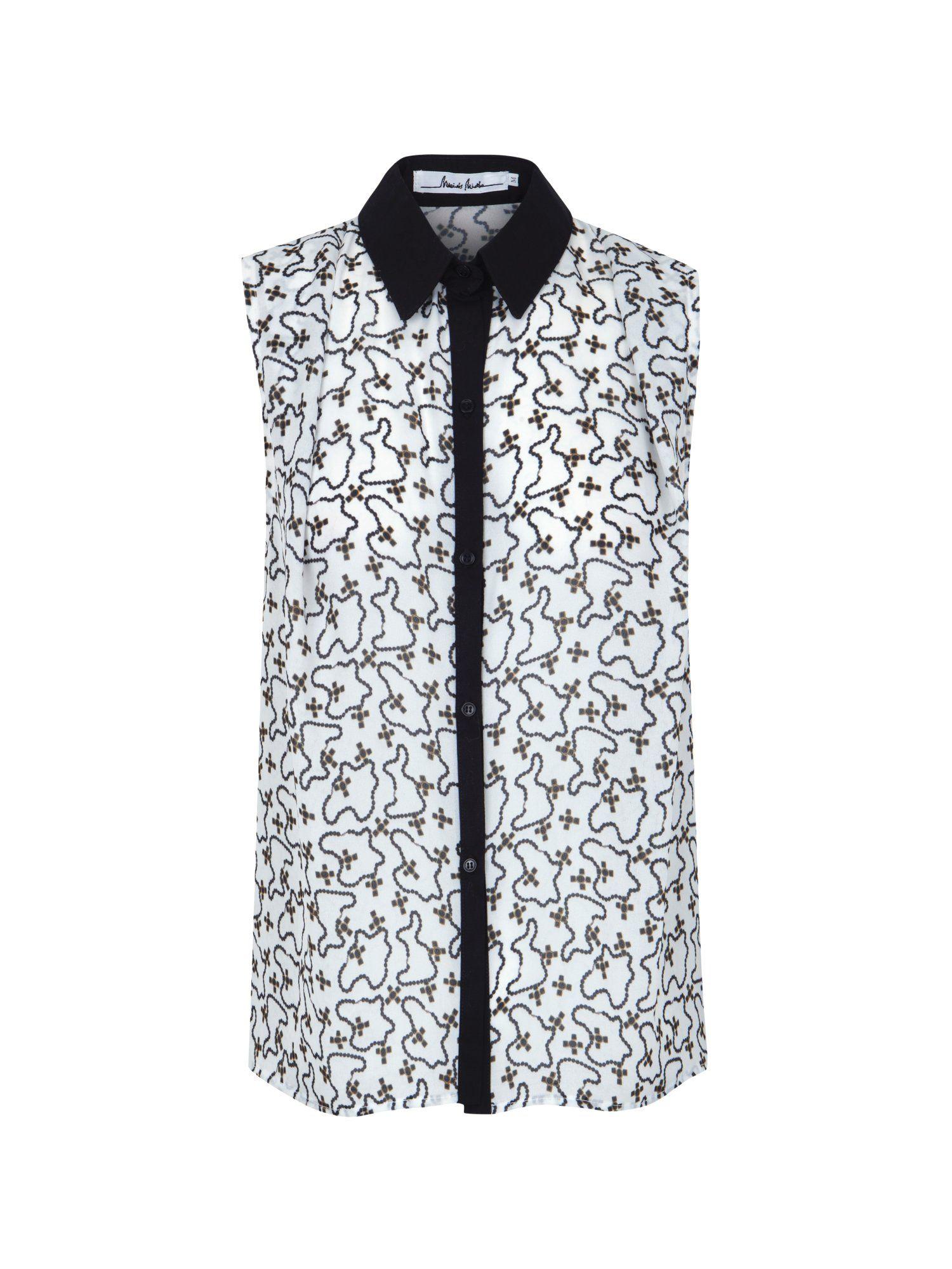 Camisa de manga a la sisa con estampado de rosarios. botones negros