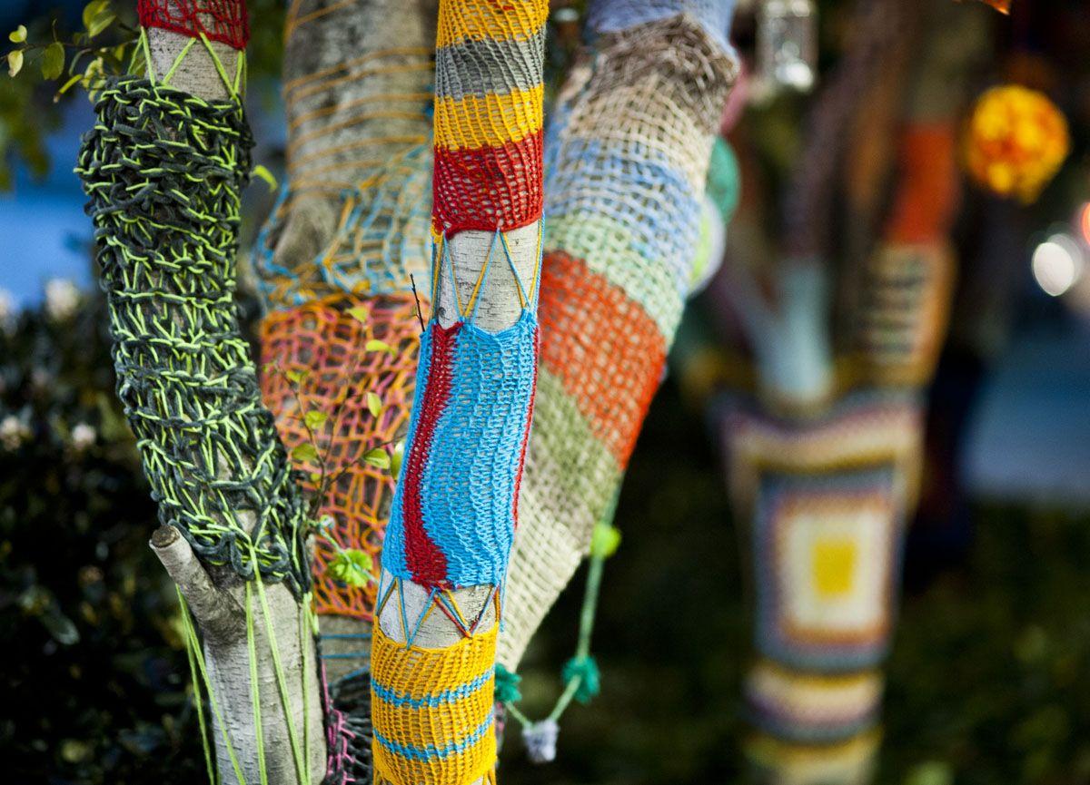 Clothfabric yarn bombing fabric embroidered friendship