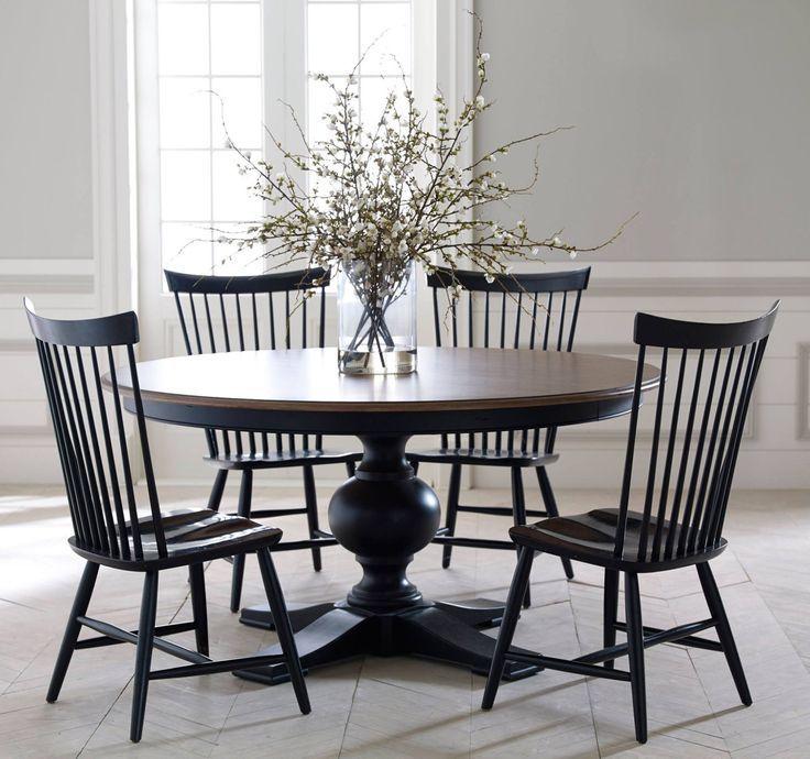 Image Result For Modern Windsor Chairs Ethan Allen Peach BlossomsKitchen UpdatesKitchen IdeasBlack TableRound Dining