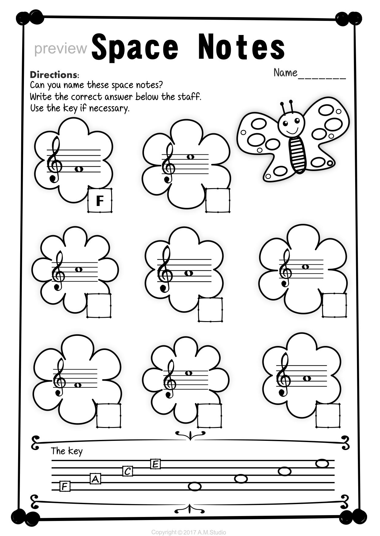 Treble Clef Note Naming Worksheets For Spring Music Worksheets