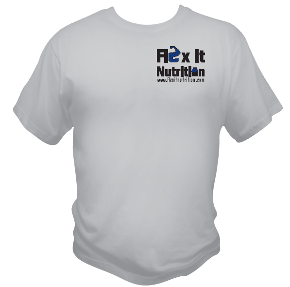 Front of t shirt with cool logo.  $16.99 Flex It Nutrition: No Excuses - T-Shirt - Female