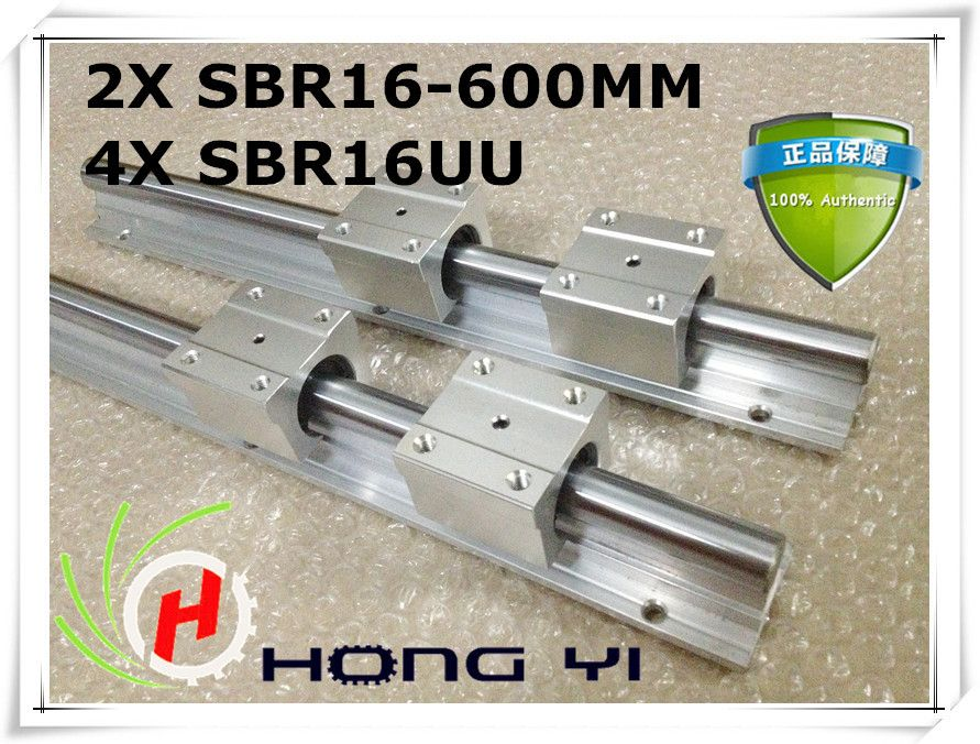 Best Price 2pcs Sbr16 Rail L600mm 16mm Linear Guide Cnc Router Part Linear Rail 4pcs Sbr16uu Blocks Cnc Router Parts Cnc Router Router