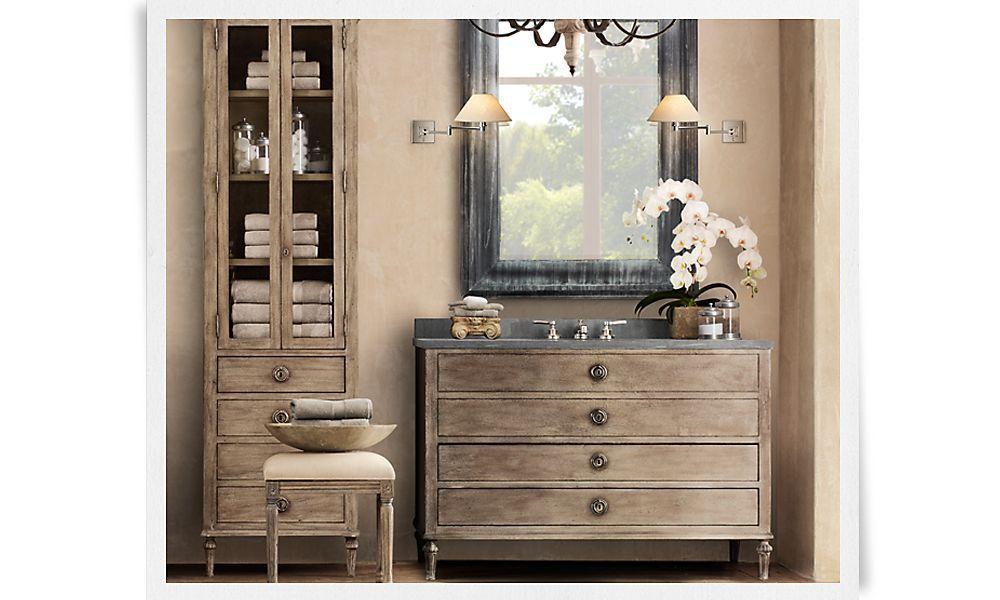 Rooms | Restoration Hardware - bath, grey countertop - wall color ...