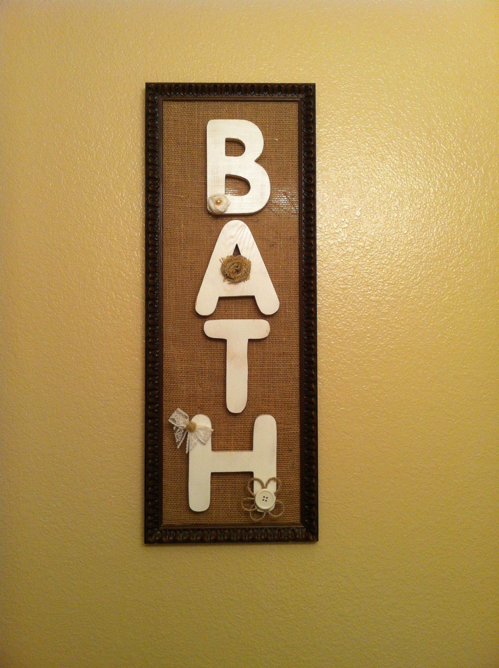 Bathroom wall art decor. Old frame, covered the glass with burlap ...