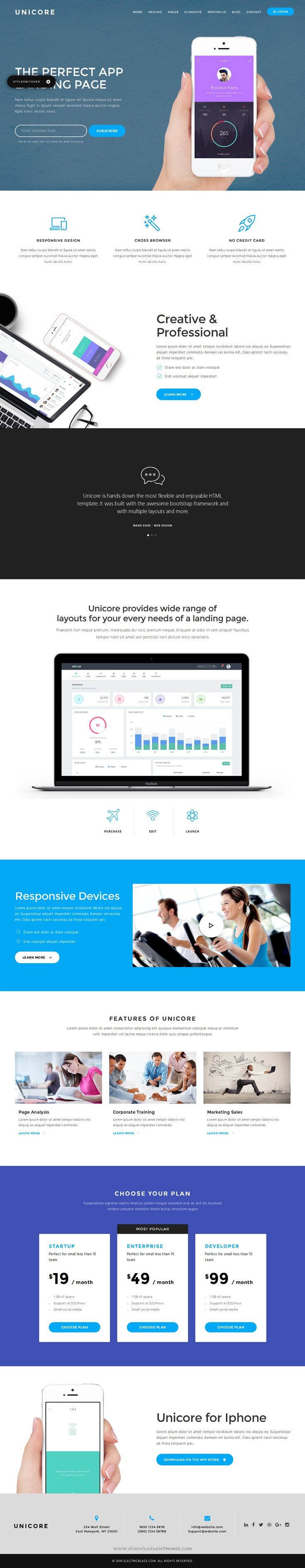 unicore is a unique modern full featured bootstrap landing page