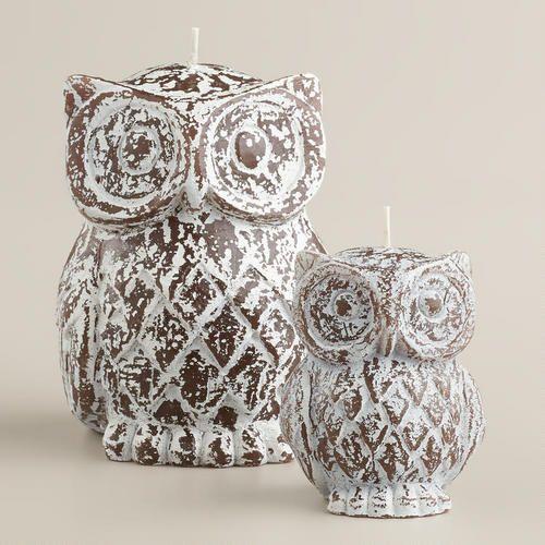 Rustic Wood Finish Owl Candle Pinned By Www Myowlbarn Com Owl Candle Owl Gifts