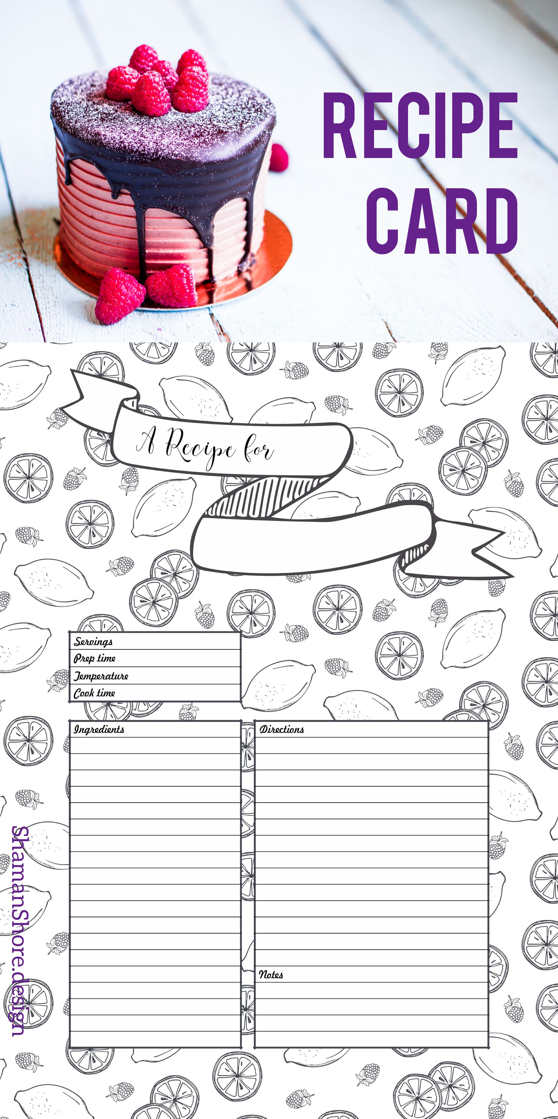 Recipe Template Printable Recipe Pages Layouts Blank Recipe Etsy Recipe Cards Template Recipe Template Printable Planner Printables Free